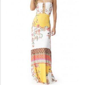 Sky Yerzy Maxi Dress in Gold Size Small